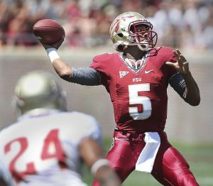 FSU QB Freshman QB Jameis Winston Picture from http://www.palmbeachpost.com/news/sports/college-football/jameis-winston-impresses-in-fsu-spring-game-but-st/nXLnX/