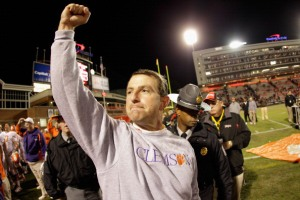 Clemson Head Coach Dabo Swinney Picture from http://baltimore.cbslocal.com/photo-galleries/2011/10/16/terps-fall-to-clemson-tigers-56-45/