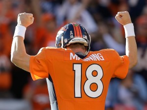 Peyton Manning celebrating what he hopes to be another Super Bowl in his future. Picture from www.sportsmole.co.uk
